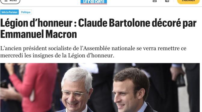 Claude Bartolone décoré de la légion d'honneur par Emmanuel Macron